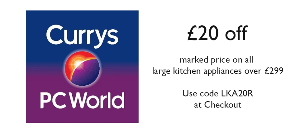 £20 off large appliances at Currys